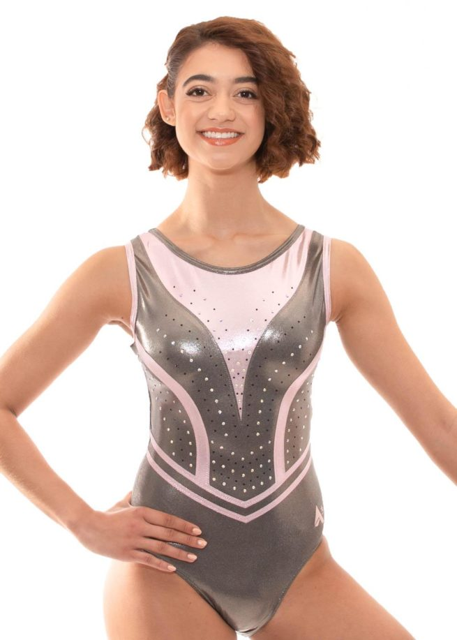 Z519 Candra Pink and Grey Sleeveless Leotard front