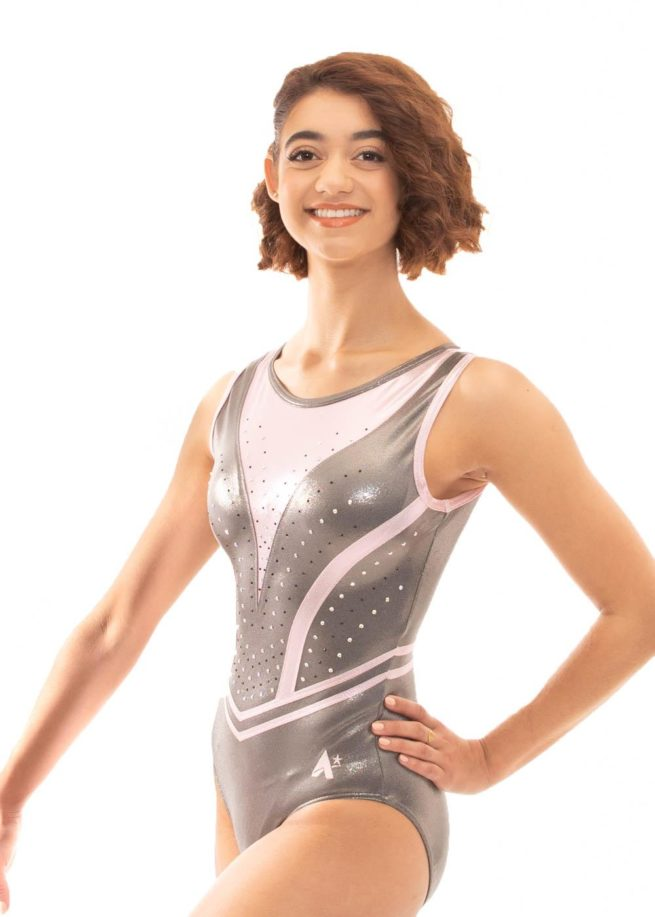 Z519 Candra Pink and Grey Sleeveless Leotard side1