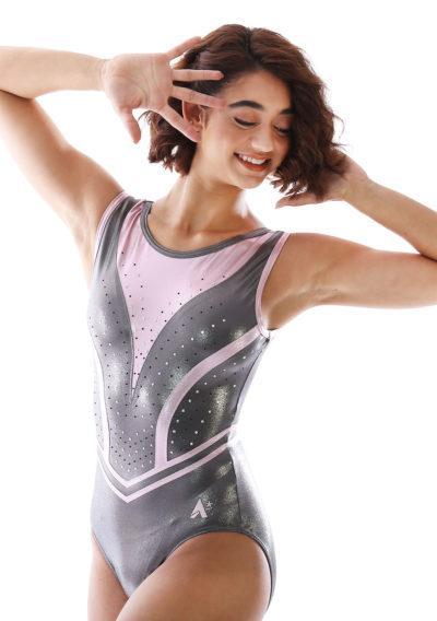 Z519 Candra grey and pink gymnastics leotard with diamante main