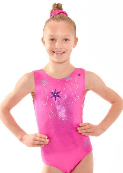 Z523 Floral pink leotard with flowers front
