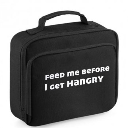 black lunch bag with hangry print