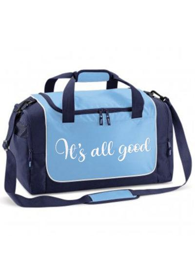 blue holdall with white print