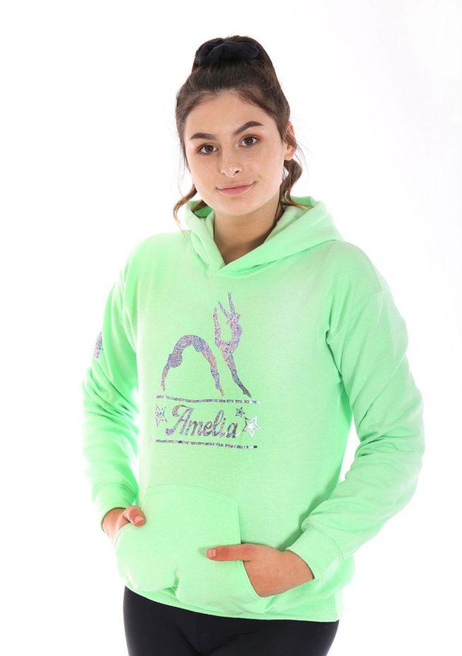 girls pastel hoodie personalised gymnastics print gifts for gymnasts