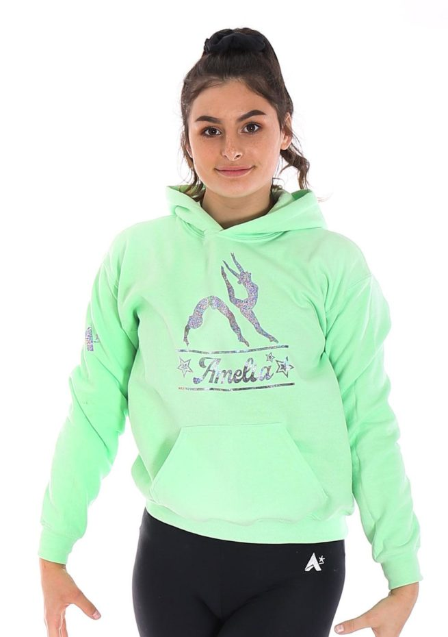 green mint pastel gymnastics named hoodie personalised gifts for gymnasts