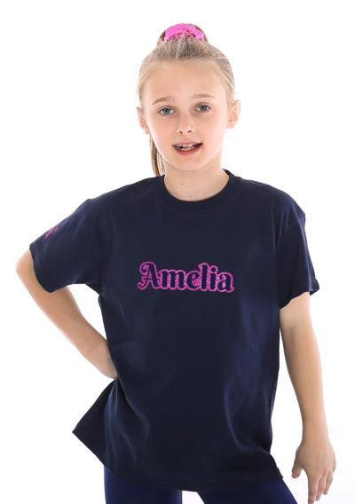navy gymnastics top printed named personalised t shirt