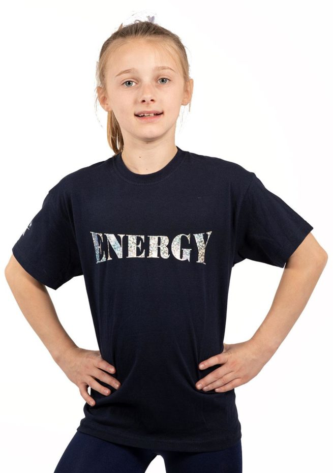 navy t shirt with energy print gymnastics top