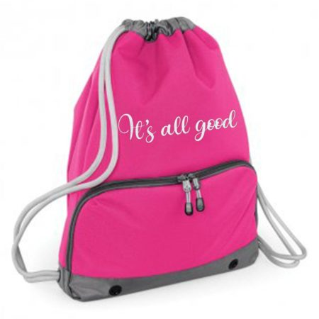 pink small gym back with happy print