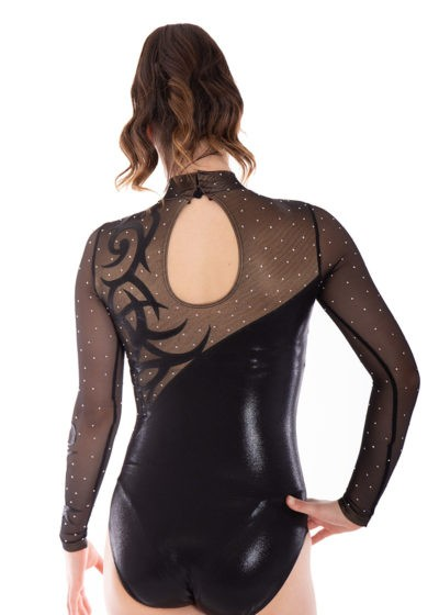 AMELIA KH466 fancy black shimmer leotard back