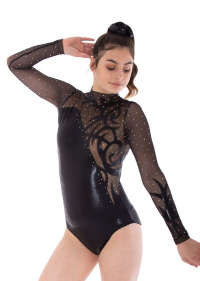 AMELIA KH466 fancy black shimmer leotard front