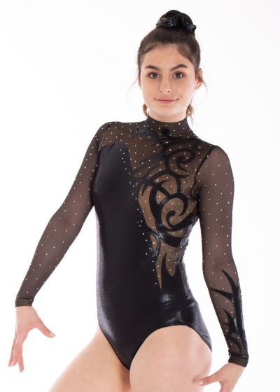 AMELIA KH466 fancy black shimmer leotard side