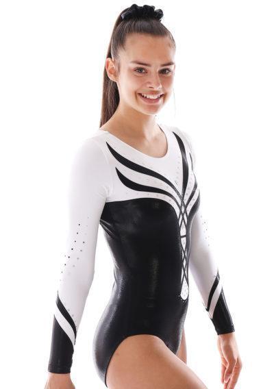 ANASTASIA Black and white leotard with diamante side