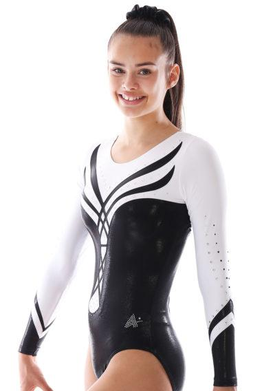 ANASTASIA Black and white leotard with diamante side1