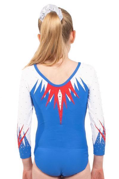 ARYA K413 blue and red sleeved leotard back