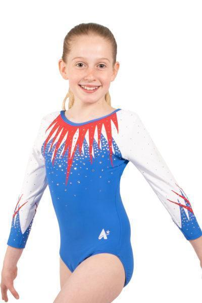 ARYA K413 blue and red sleeved leotard front