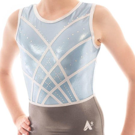 AVIANA Z516 Blue and grey pastel gymnastics leotards