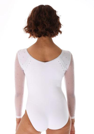 Aaliyah 486 White competition leotard with mesh and back
