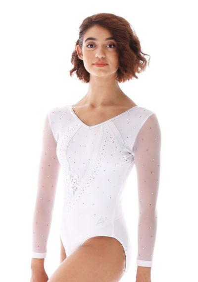 Aaliyah 486 White competition leotard with mesh and side