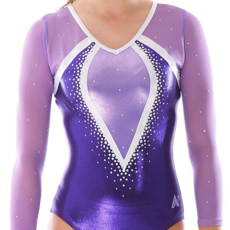 Aaliyah 486 purple mesh girls gymnastics leotard with gems