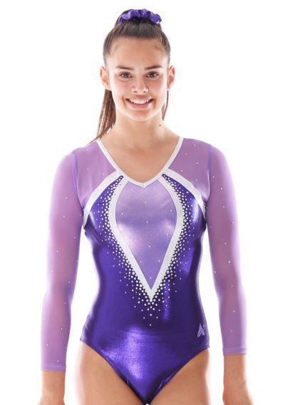 Aaliyah 486 purple mesh girls gymnastics leotard with gems front