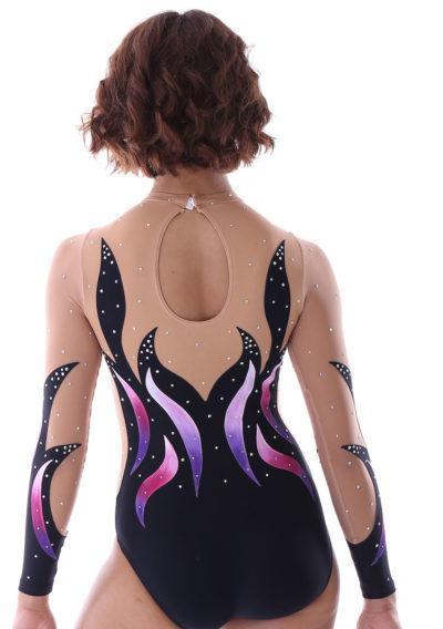 Afia K422 Painted girls sleeved leotard black purple and pink back