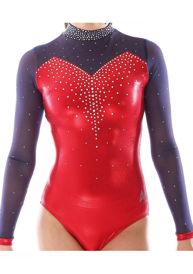 Alvia KH435 Red sleeved gymnastics leotard with mesh and collar