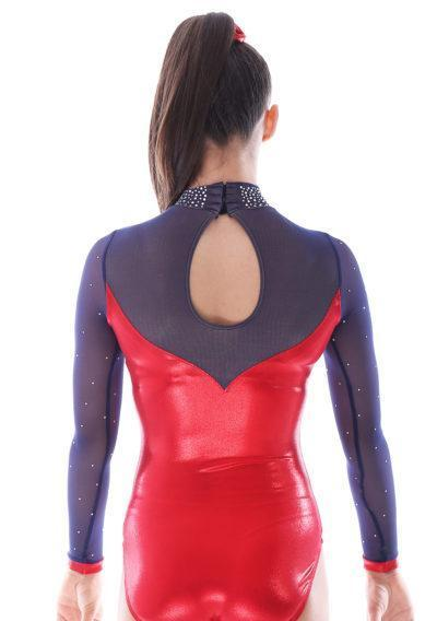 Alvia KH435 Red sleeved gymnastics leotard with mesh and collar back