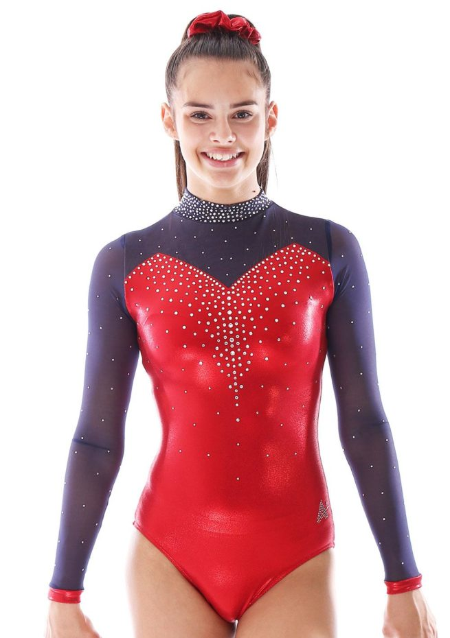 Alvia KH435 Red sleeved gymnastics leotard with mesh and collar front 1
