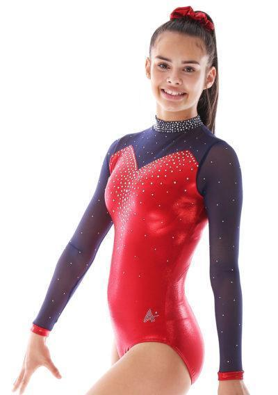 Alvia KH435 Red sleeved gymnastics leotard with mesh and collar side