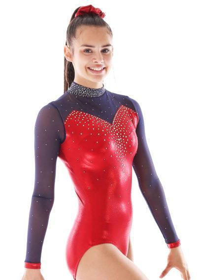 Alvia KH435 Red sleeved gymnastics leotard with mesh and collar side1