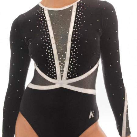 Ashley K433 Black velour sleeved leotard with diamante