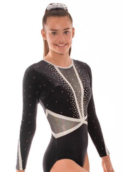 Ashley K433 Black velour sleeved leotard with diamante side