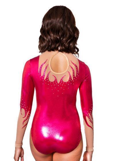 BELLA K268 pink foil sleeved competition leotard high neck back