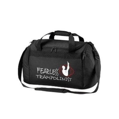 BLACK HOLDALL WITH TRAMPLONIST QUOTE BOYS EDIT