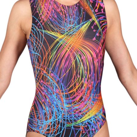 BRIGHT SPARKS SP L199 girls black patterned gymnastics leotard