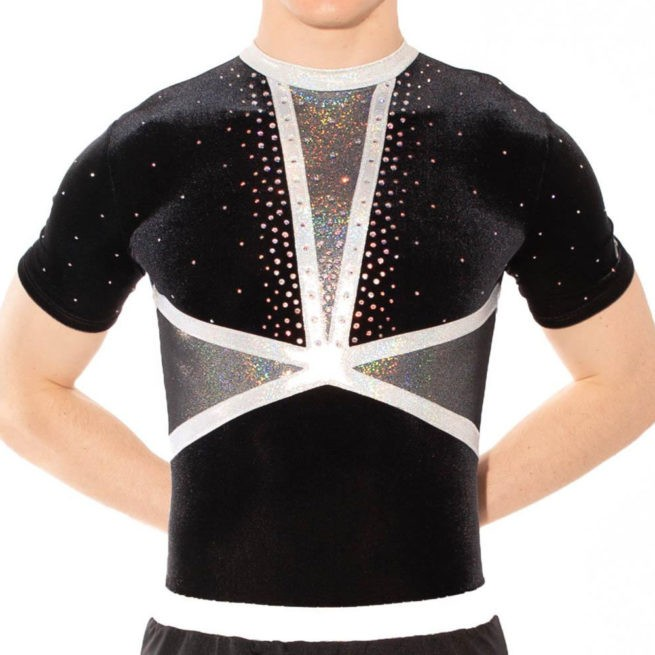 BSA433 Ashley acro leotard mens black rhythmic gymnastics