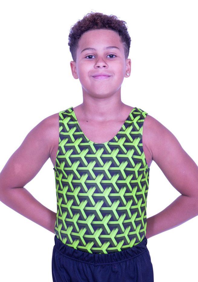 BV L146 boys green gymnastics leotard patterned