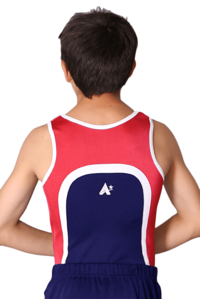 BV154 Harry Red white and Blue boys leotard back