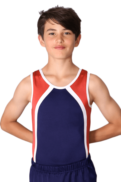 BV154 Harry Red white and Blue boys leotard front