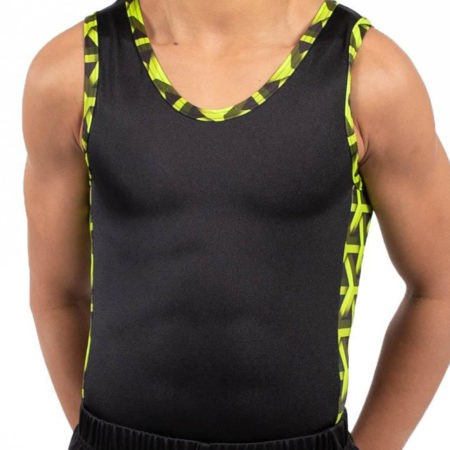 BV207 Matthew black ghreen patterned contrast panel boys gym leotard