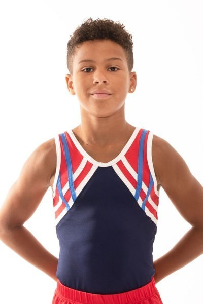 BV496 Lucas navy red white boys leotard front