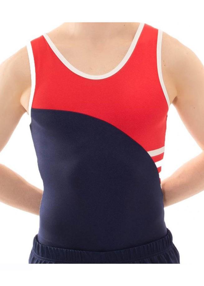 BV512 Kai navy RED WHITE boys trampoline leotard