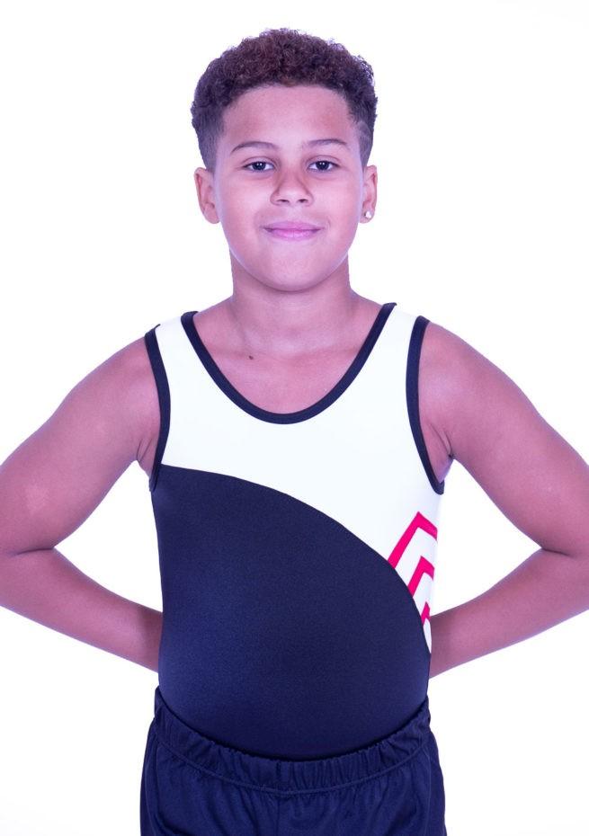 BV514J01 J11 black white red boys gymnastics leotard sleeveless