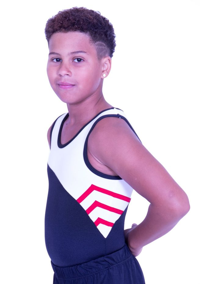 BV514J01 J11 red black white boys training leotard gymnastics