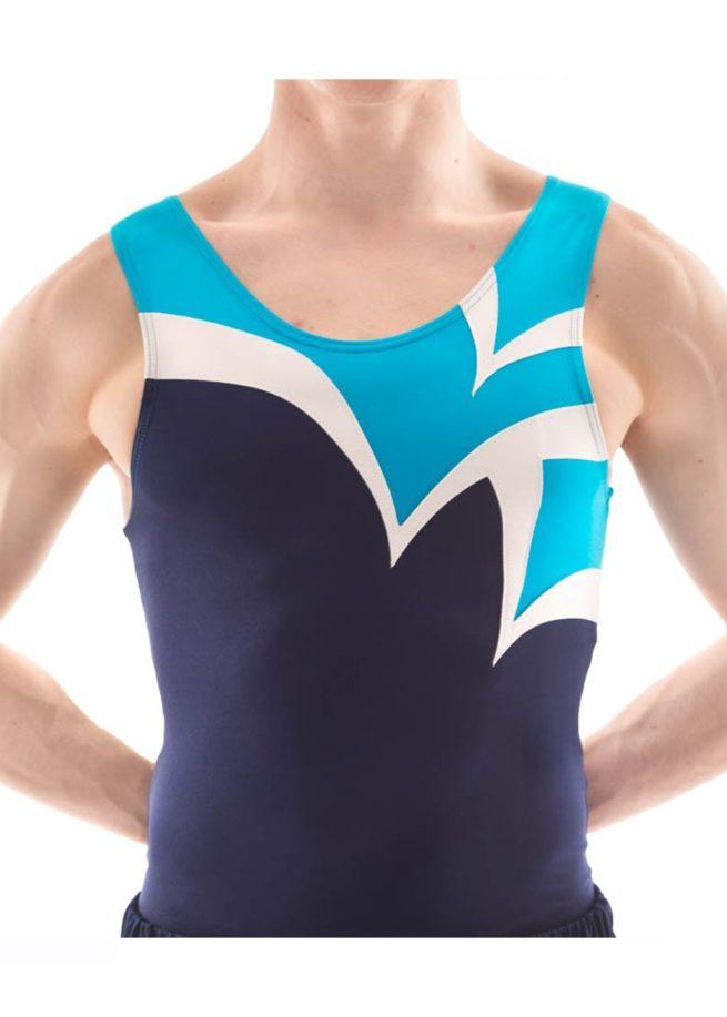 BVZ12 Logan turquoise navy stiking gymnastics leotard
