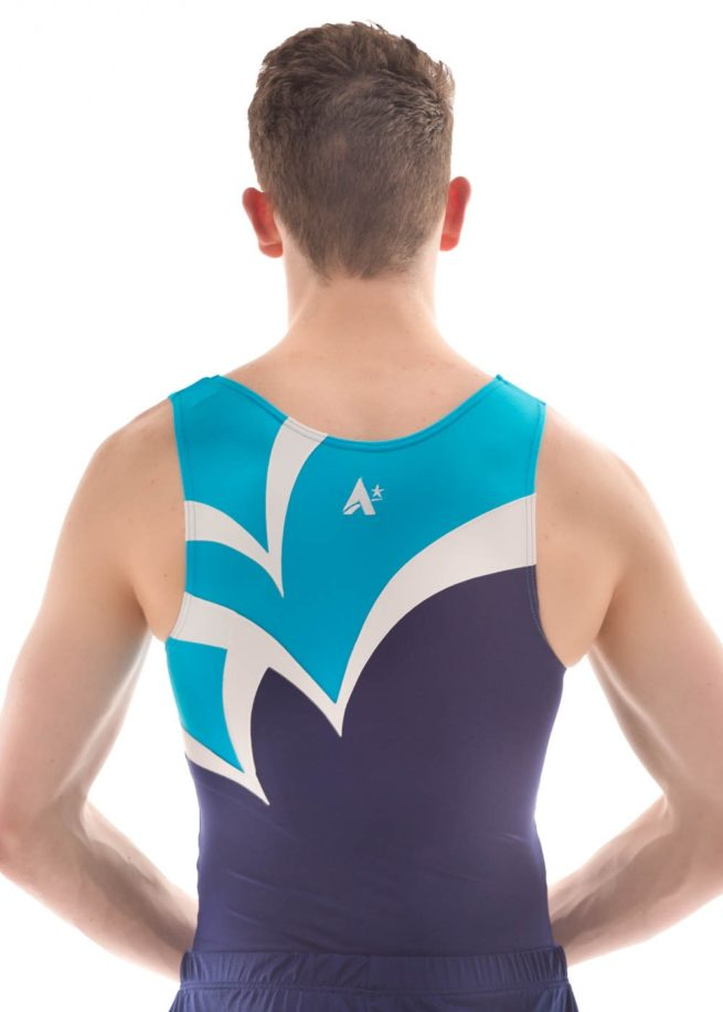 BVZ12 Logan turquoise navy stiking gymnastics leotard back Edit