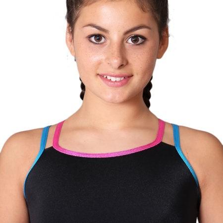 Black training top with shimmer straps BT2