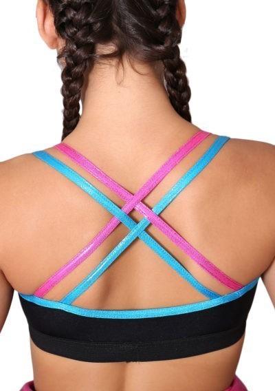 Black training top with shimmer straps BT2 back