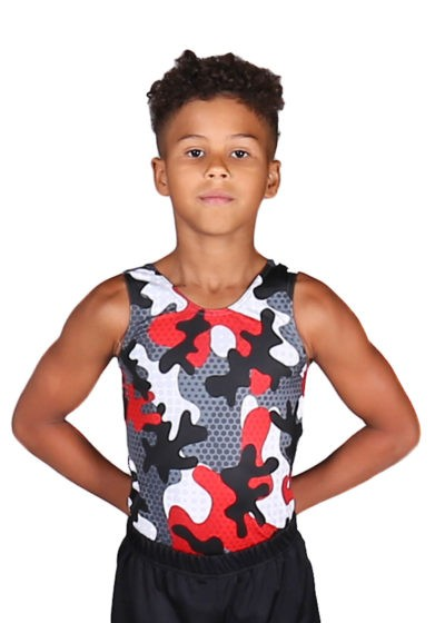 CAMO RED BV L136 Boys camo patterned gym leotard front 1
