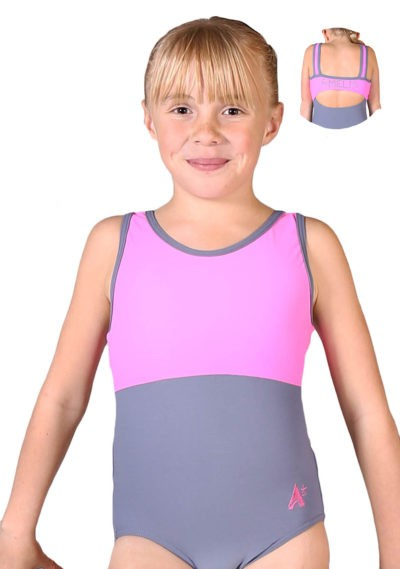 CARLA Z420 Pink and grey named personalised leotard front 1