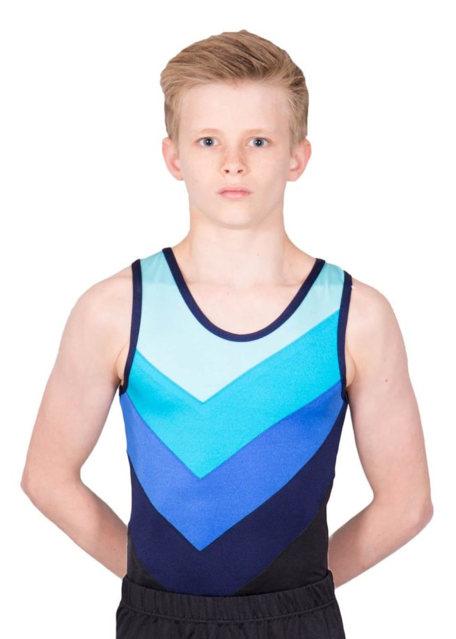 CHASE BV243 Fading blue boys gym leotard front 1